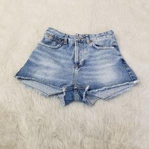 Topshop Moto Button Fly High Waisted Jean Shorts